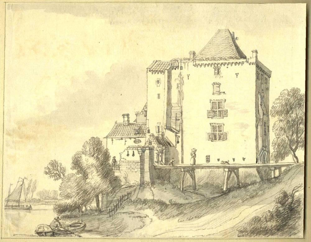 Nijenbeek in Voorst. Tekening Jan de Beijer, 1744